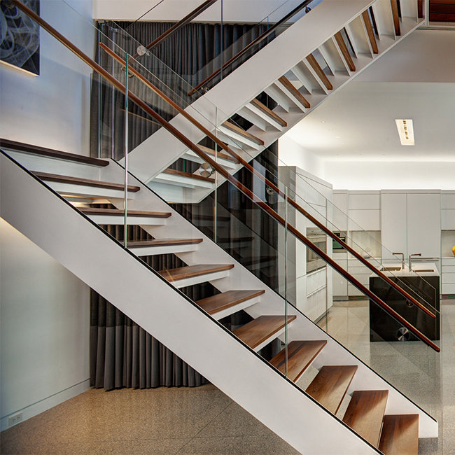 ... Modern Design Straight Glass Staircase With Solid Oak Staircase Tread  ...