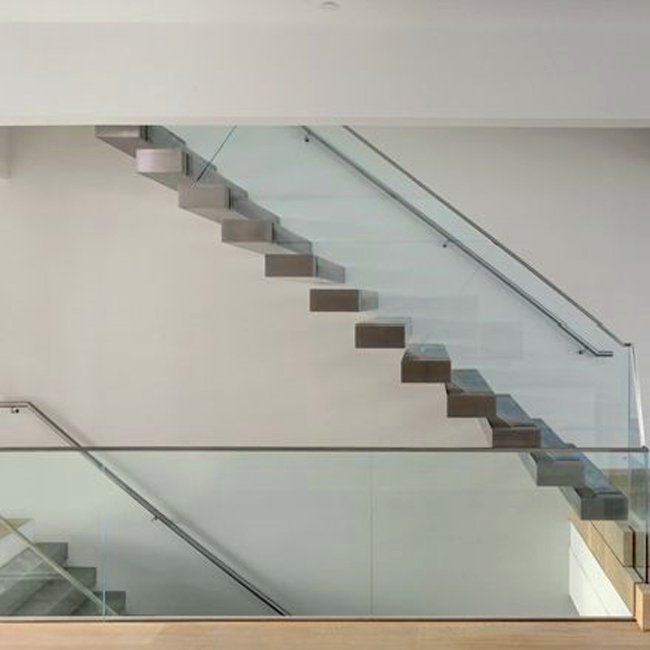 ... Floating Stairs With Wooden Tread And Frameless Glass Railings ...