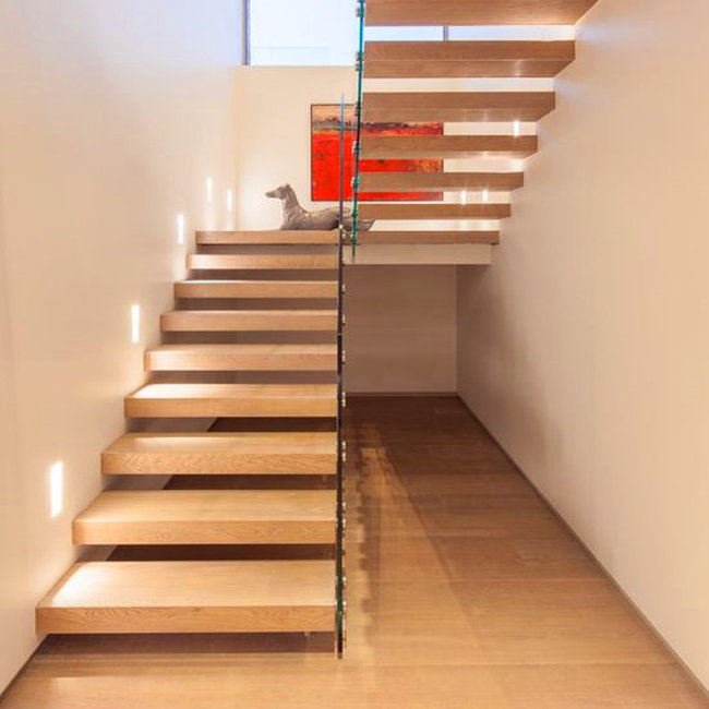 Floating Stairs With Wooden Tread And Frameless Glass Railings ...
