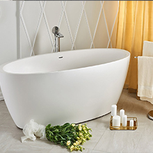 Natural Carrara White Solid Marble Freestanding Stone Bathtub For Sale