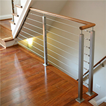 Exterior balcony stainless steel cable wire railing products with wood top handrail
