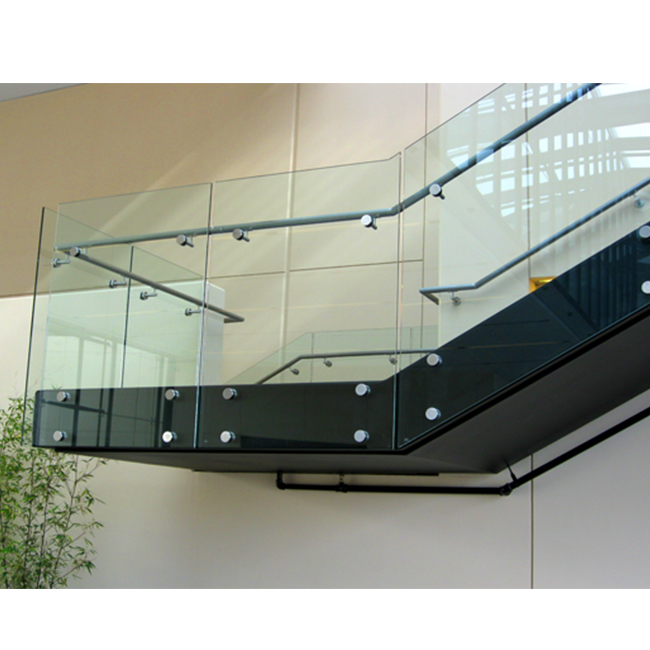 S-House Staircase Stairwell Stainless Steel Standoff Glass railing