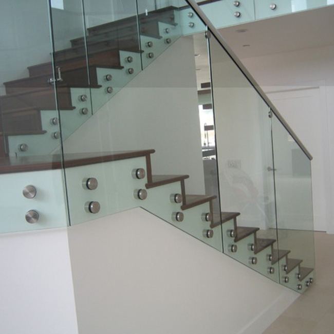 S-Exterior Safety Balcony Semi-Frameless Glass railing/Glass railing with Grade Stainless Steel Standoff