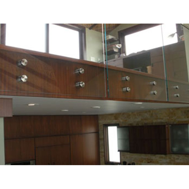 S-Frosted Tempered Safety Glass railing with Steel Standoff