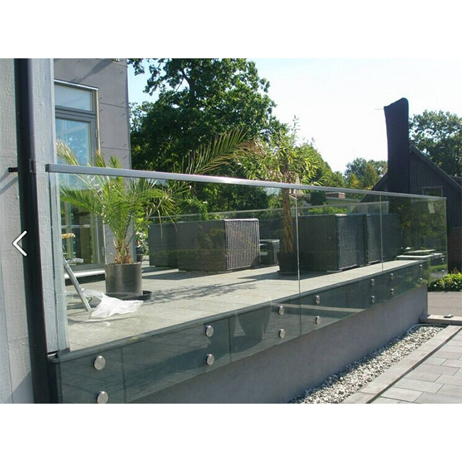 S-Construction stainless steel standoff glass railing for small deck