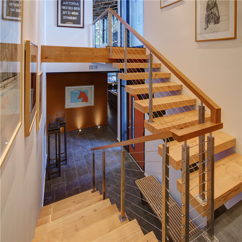 S-Residential Indoor Wood Staircase Stainless Steel Cable Railing